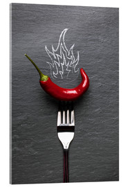 Acrylic glass  red chili peppers with fire - pixelliebe