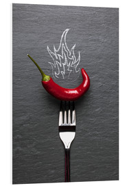 Foam board print  red chili peppers with fire - pixelliebe