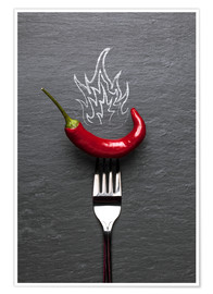 Poster  red chili peppers with fire - pixelliebe