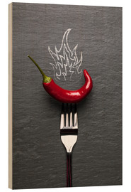 Wood  red chili peppers with fire - pixelliebe