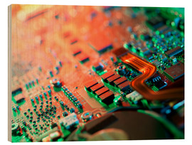 Wood print  Laptop circuit board - Tek Image