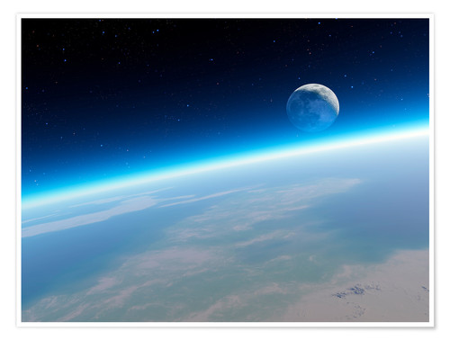 Premium poster Crescent Moon from Earth orbit