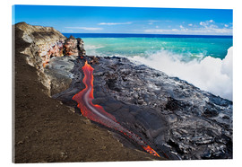 Acrylic print  Lava flowing into ocean, Hawaii - David Nunuk