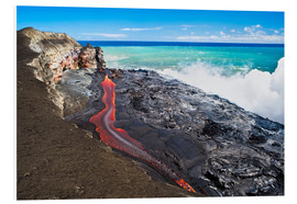 Foam board print  Lava flowing into ocean, Hawaii - David Nunuk