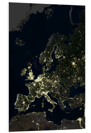 Foam board print  Europe at night - Planetobserver