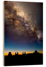 Wood print  Mauna Kea telescopes and Milky Way - David Nunuk