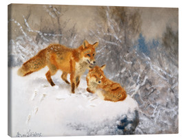 Canvas print  Two foxes in a winter landscape - Bruno Andreas Liljefors