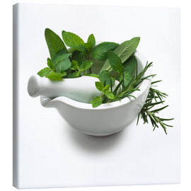 Canvas print  Herbs in a mortar