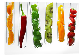 Acrylic print  Fruit and vegetables in test tubes