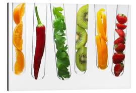 Aluminium print  Fruit and vegetables in test tubes