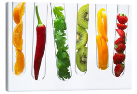 Canvas  Fruit and vegetables in test tubes