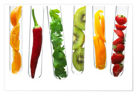 Premium poster  Fruit and vegetables in test tubes