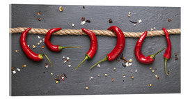 Acrylic glass  red hot chilli peppers with spice - pixelliebe