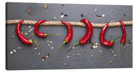 Canvas print  red hot chilli peppers with spice - pixelliebe
