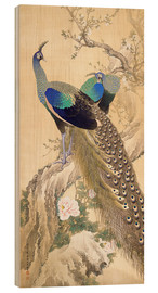 Wood  Two peacocks in spring - Imao Keinen