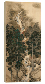 Wood print  Waterfall in spring and autumn - Kishi Chikudo