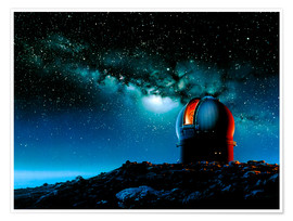 Poster  Artwork based on Mauna Kea of a telescope dome - Detlev van Ravenswaay