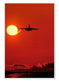 Premium poster Boeing 747 taking off at sunset