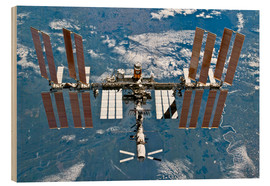Wood print  International space station - NASA