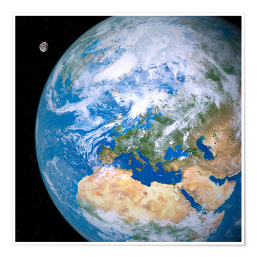 Premium poster Earth and the Moon from space
