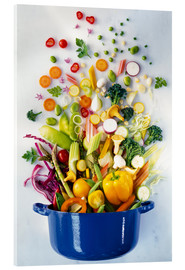 Acrylic print  Vegetables falling into a pot