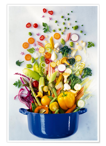 Premium poster Vegetables falling into a pot