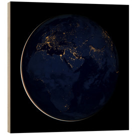 Wood print  Africa at night - NASA