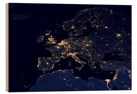 Wood print  Europe at night - Nasa