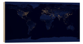 Wood print  Earth at night - NASA