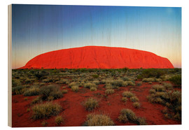 Wood print  Ayers Rock at sunrise - I. Schulz