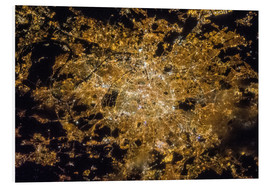Foam board print  Paris by night from above - NASA