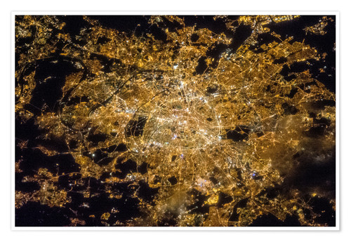 Premium poster Paris by night from above