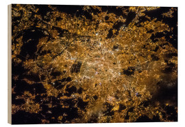 Wood print  Paris by night from above - Nasa