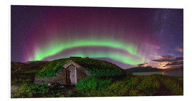 Foam board print  Auroral over Viking house, Greenland - Juan Carlos Casado