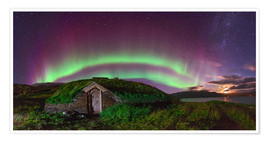Poster Auroral over Viking house, Greenland