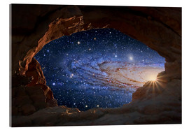 Acrylic print  Galaxy seen through a rock arch - Tony & Daphne Hallas