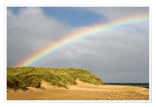 Poster Rainbow over sand dunes