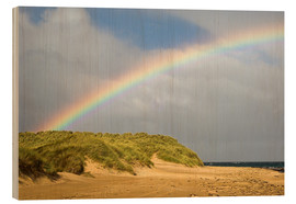 Wood print  Rainbow over sand dunes - Duncan Shaw
