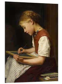 Foam board print  Schoolgirl with homework - Albert Anker
