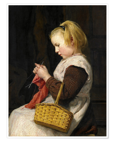 Premium poster Knitting Girl with basket
