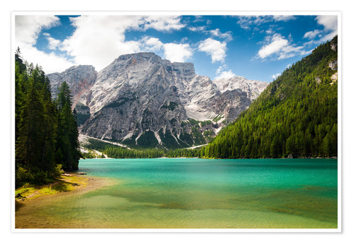 Premium poster Lake Braies in South Tyrol , Lago di Braies