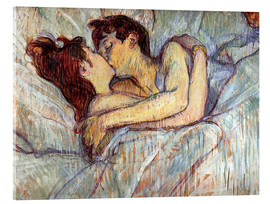 Acrylic glass  In Bed, The Kiss - Henri de Toulouse-Lautrec