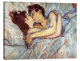 Canvas  In Bed, The Kiss - Henri de Toulouse-Lautrec