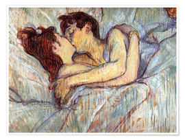 Poster  In Bed, The Kiss - Henri de Toulouse-Lautrec