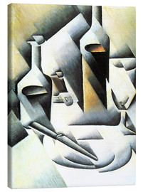 Canvas print  Still Life with bottles and knives - Juan Gris