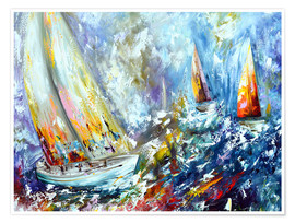 Poster Sailboats in storm
