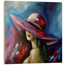 Wood print  Lady with Hat - Theheartofart Gena