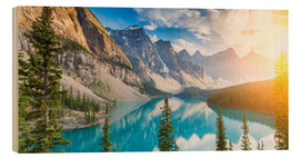 Wood print  Moraine Lake panorama, Banff National Park, Alberta, Canada - rclassen