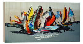 Wood print  Abstract sailing - Theheartofart Gena