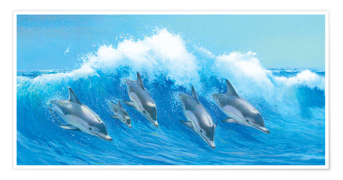 Premium poster Leaping Dolphins